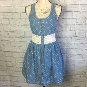 Anthropologie Pins & Needles Dotted Dress w/Lace